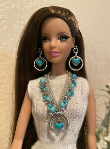 Handmade Jewelry for Barbie Turquoise Squash Blossom Necklace and Earrings