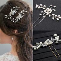 Womens Wedding Bridal Flower Pearl Crystal Hair Pins Clips Comb Hair Accessories