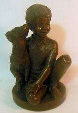BRONZE Sculpture Artist Signed Charles PARK 1974 BOY with DOG Bookend