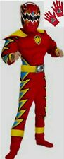 Power Ranger Red Trassic Dino Thunder Muscle Costume 7 8 10 M New w Gloves Child
