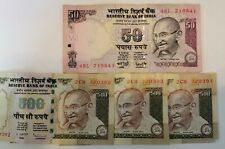3 X 500 INDIA RUPEE 1X50 RUPEE BANK NOTE FIVE HUNDRED