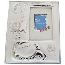 Cornice portafoto nascita da personalizzare retro in legno e argento gattino