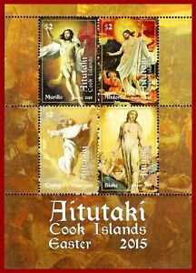 Aitutaki 2015 Easter, CHRIST, resurrection, Art, paintings by Murillo, etc **MNH