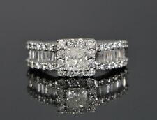 Zales 14K White Gold Princess Cut Baguette Diamond Engagement Ring 6.5