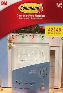 3M Command Damage-Free Indoor Holiday Light Clips Package 42 Clips/48 Strips