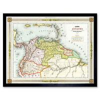 Duvotenay 1846 Map Colombia Guyana Americas Framed Wall Art Poster