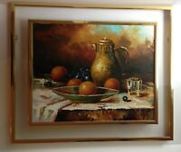 VTG Artist Signed Original Oil Painting  Naturmort Fruit Still LiIe Lucite Frame