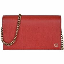 Gucci Betty Dollar Calf Red Pebbled Leather GG Wallet Chain Handbag 466506