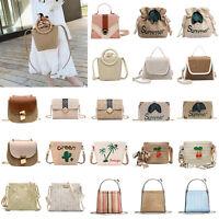Women Straw Woven Bag Retro Rattan Shoulder Tote Handbag Crossbody Messenger New