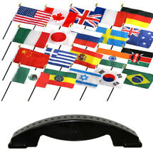 4x6 International Country 20 Desk Set Table Stick Flags w/ 20 Hole Base Stand