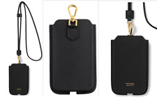 Tom Ford Grain Leather IPHONE Phone Case Lanyard Pouch Bag Neck Strap New