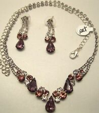 Necklace Earring Set Purple Rhinestone Cluster Long Adjustable Chain  NWT L1242