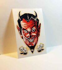 DEVIL DICE Vintage Style DECAL, Vinyl STICKER, rat rod, racing