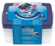 Prym haga clic en la caja, con bandejas para almacenar sus herramientas de costura