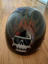 "Harley Davidson ""Blazing Bone"" KBC Half Helmet Skull Flames Graphics - Size XL"