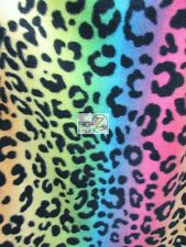 RAINBOW LEOPARD PATTERN FLEECE PRINTED FABRIC (ST-028) BY THE YARD BABY BLANKET