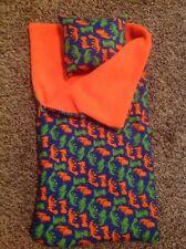 "18""American Girl/Bitty Baby boy orange dinosaur Sleeping bag/pillow doll clothes"