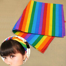 Rainbow Colour Bandanas Headband Headwear Gay Pride Headscarf Cotton Hairband 1p