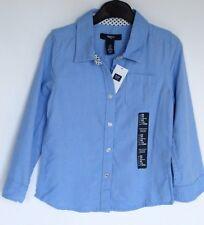 GAP Kids Girls Size 4-5 Long Sleeve Button Up Blue Blouse Shirt NEW