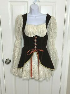 Charades Costume Lacey Pirate Dress, Ivory Lace/Brown Bodice, Adult Small