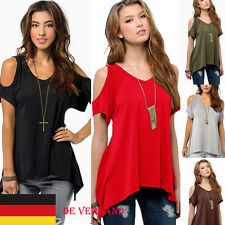 DE Damenshirt Übergröße Schulterfrei V Neck Bluse Oberteil Hemd Tunika Gr.34-48