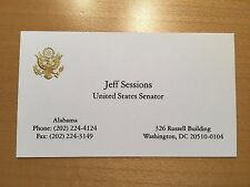 Official US Senate Business Card-President Trump Attorney General Jeff Sessions