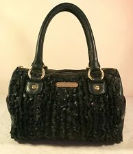 975b08ea1615 Vintage Betsey Johnson Black Ruffled Leather Large Satchel Rockstar Handbag