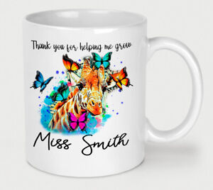 Personalised Thank You Teacher Mug End of Term Gift Box Cup Giraffe Butterfly