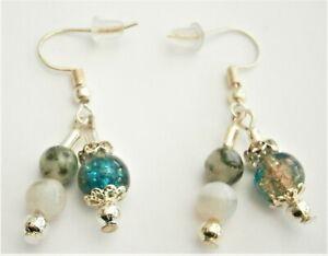 C258) Handmade green Moss Agate stone & crackle glass bead hook earrings
