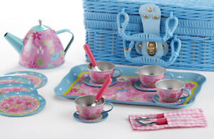 Children's Tin Tea Set for 4-Med Size- 19 Pieces-Flowers Tea Party Kids #8001-2