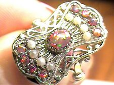VINTAGE FILIGREE BLUE OPAL RING 6 ESTATE PEARL small SILVER DELICATE STERLING