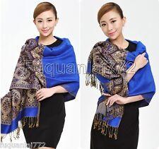New Women's Sapphire Blue 100% Cashmere Pashmina Soft Warm Wrap Shawl Scarf
