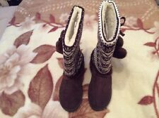 Odeon Lovely Ladies Brown  Faux Suede/Knitted Boots Size 6