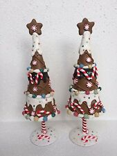 """SET/2 10"""" GINGERBREAD TREE FAKE CANDY CANE XMAS DECOR ICING STAR PEPPERMINT GIFT"""