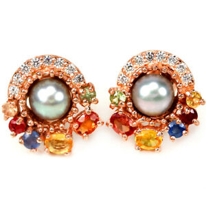 GENUINE GRAYS PEARL, MULTI COLOR SAPPHIRE & CZ STERLING 925 SILVER STUD EARRING