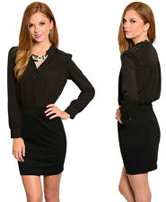 SMALL BLACK HZ Women's Long Sleeve Stretch Slim Casual OL Belt Shirt Mini Dress