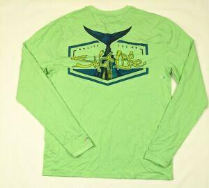 Mens Salt Life SLX UVAPOR Long Sleeve Logo Performance T-shirt Light Green Small