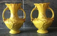Vtg Pair Ceramic Urn Yellow Vases Floral Gold Gilt Signed PRISTINE Mid Century