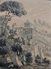 Superbe Lavis ancien Vue d'Italie Paysage signé BOSSUET (1798-1889) Belge