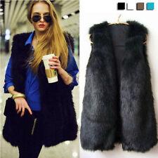 Women Lady Faux Fur Body Warmer Vest Waistcoat Gilet Sleeveless Jacket Outwear