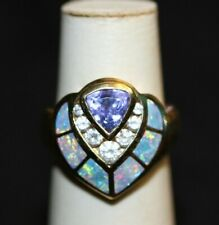 Gorgeous Tanzanite Inlay Opal and Diamond Ring in 18KYG