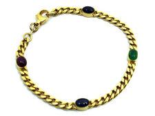 Armband ECHT Gold 585, 14Kt, mit ovalen Safiren, Smaragd und Rubin