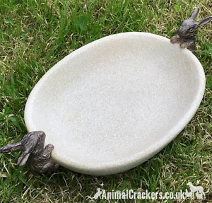 Bird Bath feeder aged stone effect bowl with Rabbit decoration Bunny lover gift