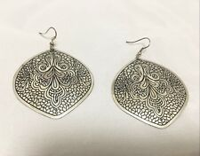 Fashion Carved Statement Silver Metal Jewelry Hanging Dangle Boho Earrings