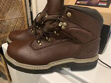 """Nib Wolverine Buccaneer 6"""" Dk Brown Steel Toe Waterproof Boots Sz 9"""
