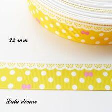 Ruban gros grain jaune à pois & effet dentelle blanc - noeud rose de 22 mm au m