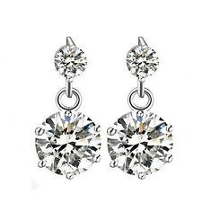 Women 925 Sterling Silver Jewelry Elegant Crystal Lady Ear Stud Earrings Double