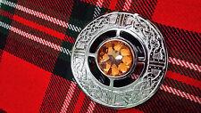 TC Highland Kilt Fly Plaid Celtic Brooches Peach Stone Silver Finish/Celtic Knot