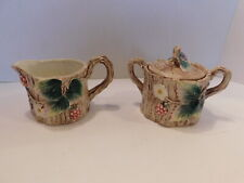 Fitz And Floyd 1990 Sugar Bowl & Creamer Tree Trunk w/ Grapes & Flowers