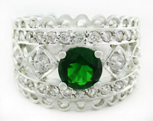 EMERALD 1.18 Cts & WHITE SAPPHIRE RING Silver Plated * NEW WITH TAG * Size 7.75